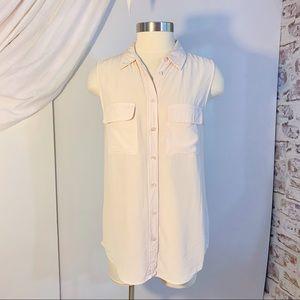 EQUIPMENT Silk Sleeveless Button Up Top M